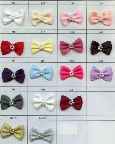 421-22P Ribbon Bows with pearl centres