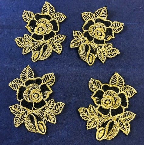 Clearance Black/Gold Rose Motif